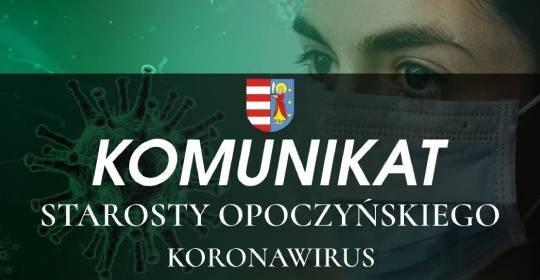 Komunikat Starosty Opoczyńskiego dotyczący sytuacji epidemicznej na terenie powiatu opoczyńskiego – stan na dzień 25 września 2020 r. godz. 13:00