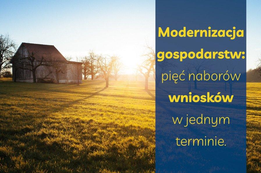 Modernizacja gospodarstw pięć naborów wniosków w jednym terminie